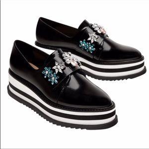 NWOT Zara Jeweled platform shoes, 36/6